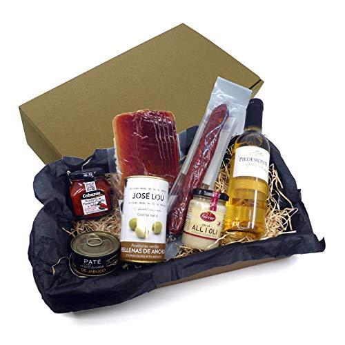 Geschenkkorb mit Spanischen Feinkost Delikatessen - Tapas Abend - Geschenkset Präsentkorb Spanien mit Wein