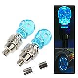 {vente directe d'usine} une paire de tête de mort clignotant LED Valve Cap lumière de roue Pneu lampe ampoule pour auto véhicule Auto Camion Moto Bike