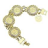 Dunbasi Islam Muslim Schmuck Armband Frauen Elegant Strass Türkisches Münze Gold Armbänder Armkette Damen Mädchen Charme Geschenk