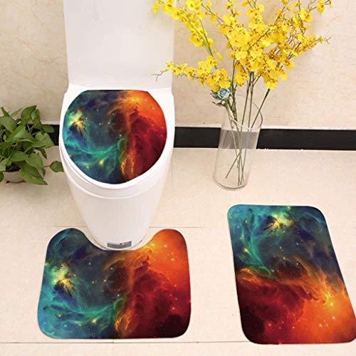 CQSMOO Badematte Set Badezimmermatte Dreiteiliges Badezimmer Toilette Galaxy Whirlpool Space Star Anti-Rutsch-Matte Dreiteiliger WC-Sitz by (Farbe : #5)