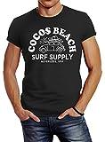 Neverless Herren T-Shirt Cocos Beach Surf Supply Retro Classic Car Slim Fit Anthrazit L