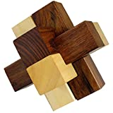 3D Wooden 6-Pieces Interlocking Block Toy Puzzles for Adults - Brain Teasers Games and Puzzles -3.5 x 3.5 x 3.5 Inches