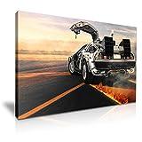 Retour vers le futur DeLorean Dmc-12Movie Poster Picture Print tendue sur toile Décoration murale 76x 50cm