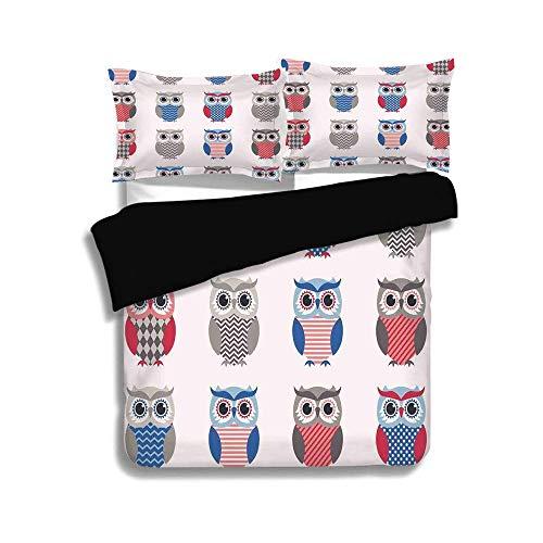 Schwarzer Bettbezug Set, Jungen Mädchen Zimmer, Muster von Eulen mit Zick-Zack-Punkten und Chevron-Print Modern, Weiß Grau Blau Rot, Dekorativ 3-teiliges Bettwäscheset von 2 Kissenbezügen, TWIN-Größe (Twin Bettwäsche Für Mädchen Chevron)