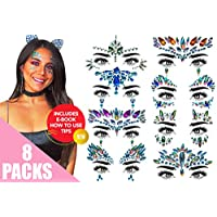 Face Gems 8 Premium Pack Extra Long-Last Face Stickers Set Festival Accessories Face Jewels Festival Face Gems Body Jewels Body Gems Party Decorations for Kids Stick on Make Up