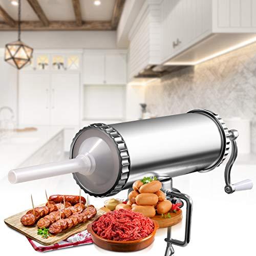 GOPLUS Poussoir à Saucisses,Remplissage de Saucisses 3L, Fait en Alliage d'Aluminium, Robuste, et avec 3 Tubes