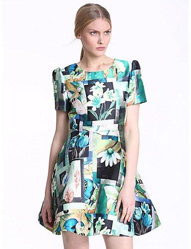 PU&PU Robe Aux femmes Gaine Simple,Fleur Col Arrondi Au dessus du genou Polyester BLUE-L