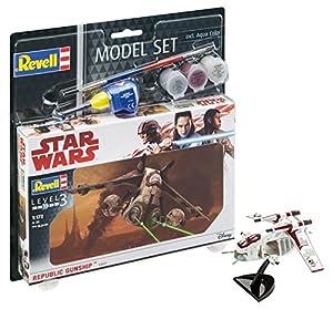 Revell Star Wars Set Republic Gunship, en Kit Modelo con Base Accesorios, fácil Pegar y para pintarlas, Escala 1:172 (63613), 10,0 cm de Largo