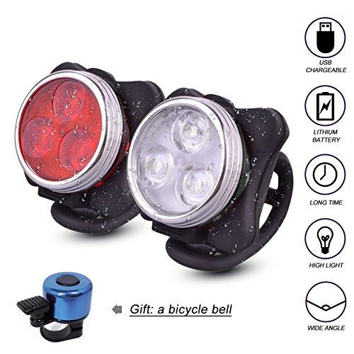 Fahrradbeleuchtung Set LED Fahrradlicht USB wiederaufladbare Fahrradlampe beinhaltet Frontlicht und Rücklicht mit 4 verschiedenen Licht-Modi und eine Fahrradklingel als Geschenk für Sie