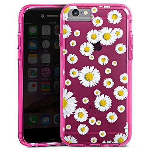 Apple iPhone 8 Bumper Hülle Bumper Case Glitzer Hülle Transparent mit Motiv Blume Pattern Bumper Case transparent pink