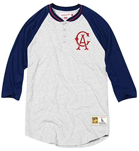 Mitchell & Ness California Angels MLB Men's 4 Bagger 3/4 Sleeve Henley Shirt -