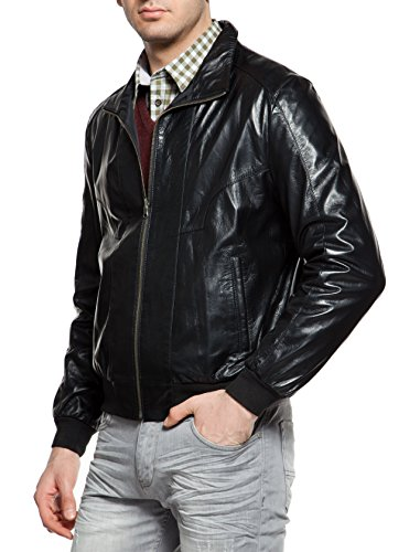 DGC Leather - Blouson - Teddy - Col Mao - Homme Schwarz