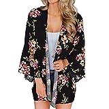 YONHEE Women Chiffon Loose Shawl - Floral Cover Up Chiffon Print Kimono Beachwear Boho Summer Casual Blouse Swimwear Cardigan Swimsuit