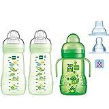 MAM Flaschen Babyflaschen Easy Active Baby Bottle Smart- Set // Uni // 2 x Baby Bottle 270 ml mit Sauger Gr.1 // 1 x MAM Trainer mit Sauger & Soft-Trinkschnabel