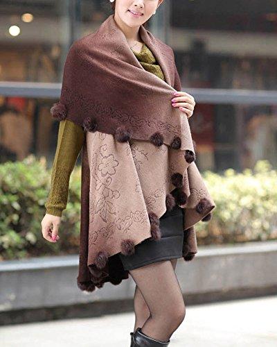 Cape Femme Tricot Large Poncho Automne Hiver Pulls Vêtements Cardigan Tunique Sweats Tricots Manteaux Brun foncé