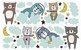 Wandtattoo Kinderzimmer Deko Pastell Set Mond Bärchen Wolken Himmel