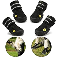 Protective Dog Boots, Royalcare Set of 4 Waterproof Dog Shoes for Medium and Large Dogs - Black