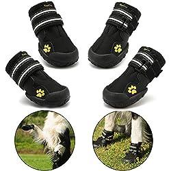 Bottes pour chien de protection, Royalcare Lot de 4étanche Chaussures de chien pour chiens de taille moyenne et grande-Noir
