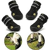 Royalcare Hundeschuhe Pfotenschutz, wasserdicht mit Anti-rutsch Sole passend für mittlere und große Hunde, schwarz(5#)