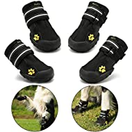 Royalcare Protective Dog Boots, Set of 4 Waterproof Dog Shoes for Small and Medium Dogs - Black (4#)