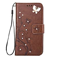 Galaxy J3 2017/J3 Prime Case [Free Tempered Glass Screen Protector],Mo-BeautyŽ Galaxy Floral [Embossed Butterfly Flower Pattern] Bling Diamonds Gems PU Leather Flip Wallet [with Card Slot and Strap] Case Cover For Samsung Galaxy J3 (2017 Version) (Brown)