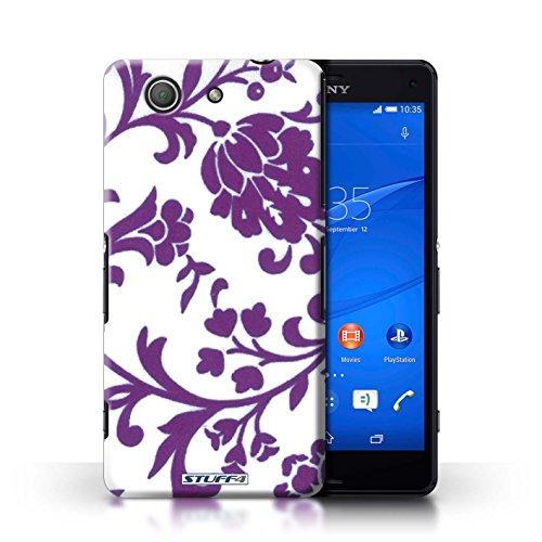 Kobalt® Imprimé Etui / Coque pour Sony Xperia Z3 Compact / Fleurs Bleue conception / Série Motif floral Fleurs Pourpre