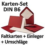 25 Sets | großes Kartenpaket mit 25 Faltkarten, passenden Einlegeblättern in creme & 25 gefütterten Umschlägen (gerippt) DIN B6 in Dunkelrot!