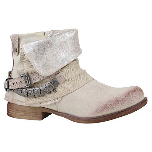 Damen Stiefeletten Biker Boots Schnallen Nieten Knöchelhohe Stiefel Leder-Optik Schuhe 129284 Beige Creme 40 | Flandell