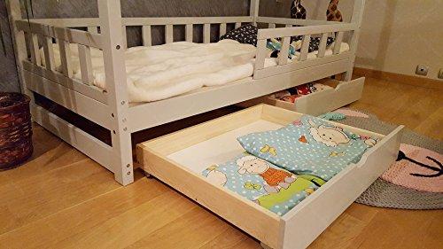 Oliveo Mon Lit cabane, Lit pour Enfants,Lit d'enfant,Lit cabane avec barrière et Un tiroir (190 x 90 cm, Bois Naturel)