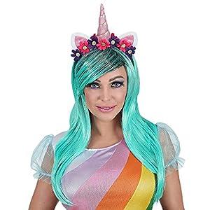 WIDMANN Srl peluca Unicornio Azul con cuerno orejas flores de mujer Adultos, Multicolor, wdm46942