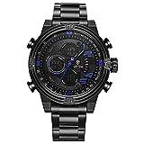 Weide Multifunktions-Sport Armbanduhr Herren Edelstahl Band Wasserdicht Militär Quarz Uhren (schwarz/blau)