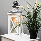 Holz Laterne mit Metalldach im Antik-Look H43cm Gartenlaterne Holzlaterne Windlicht mit Henkel Holzgestell mit Glasfenstern Kerzenhalter