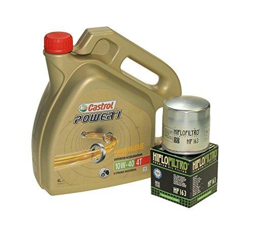Set per cambio per olio, 4litri, Castrol SAE, 10W, 40Power 1,4T, (include Filtro dell' olio HiFlo HF163 per BMW K 75, R 850, K 1100, r 1150, K 1200, r 850, r 1100, r 1200, MZ/MUZ 1000