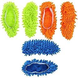 bestomz 3pares polvo de microfibra fregona zapatillas de multifunción de limpieza de suelos zapatos cubre polvo limpiador de pelo calcetines de pie tapones de mopas