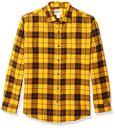 Amazon essentials Herren Regular-Fit Langarm kariertes Flanellhemd, Gelb (Yellow Plaid), Small