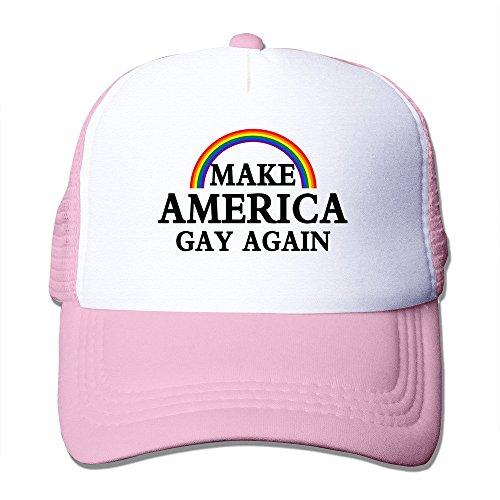 hittings Mens Make America Gay Again Funny Mesh Back Cap Baseball Hats Pink