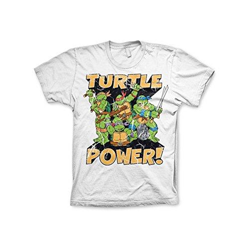 Offizielles TMNT - Turtle Power! 3XL,4XL,5XL Herren T-Shirt (Weiß) Weiß
