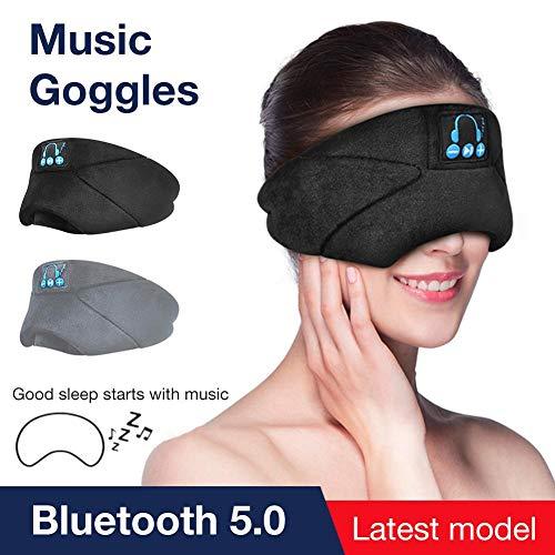jinclonder Schlaf Kopfhörer Bluetooth 5.0 Wireless, Help Sleep Eye Relief Müdigkeit Augenklappe, Anrufbeantworter/Musik Eingebautes Lautsprechermikrofon, Freisprecheinrichtung Waschbar Perfekt