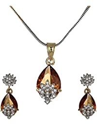 Zeneme American Diamond Gold Plated Pendant Set With Earring For Girls/Women