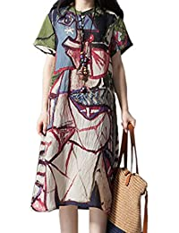 Las Mujeres Vestido De Una Línea De Cambio De Algodon Y Lino Floral Vestidos Midi