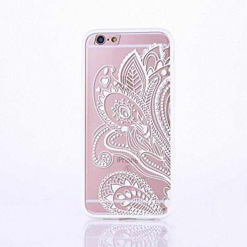 König-Shop Henna Cover Handy Hülle Case Schutzhülle Bumper Tasche Indische Sonne Mandala Weiß, Für Handy:Samsung Galaxy S6, Motiv auswählen:Mandala Kreis Blatt