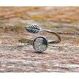 Bottled Up Designs Recycelte Vintage klare Milchflasche Sterling Silber Leaf Ring