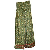 Mogul Interior Womens Maxi Skirt Green Vintage Silk Sari Smocked Waist Stylish Skirts