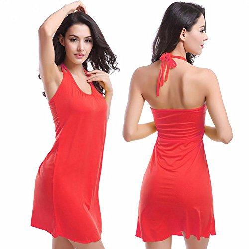 SHISHANG Damen-Strandrock der europäischen und amerikanischen Art und Weise hängenden Hals Strandrock Bikini außerhalb der Bluse Urlaub am Meer Rock multicolor Red