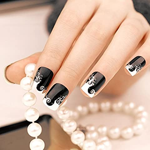 ArtPlus unghie finte 24pcs Black Silver Wave Metallic False Nails French Manicure Full Cover Medium Length with Glue Fake Nails