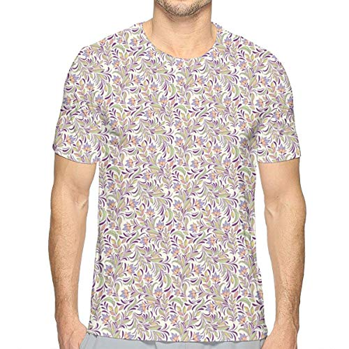 3D Printed T Shirts,Bouquet of Lilacs and Violets Flourishing Spring Nature Flowers L China Spring Bouquet