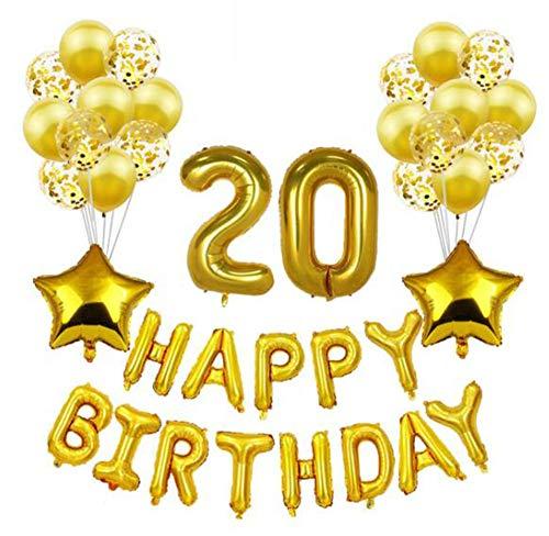 HANJIAJKL 37 Glückwunschdekorationen für Mädchen und Frauen/Geburtstagsbanner aus Aluminiumfolie / 10 Latexballons 13 Folienballons/für Partys, Partys,H