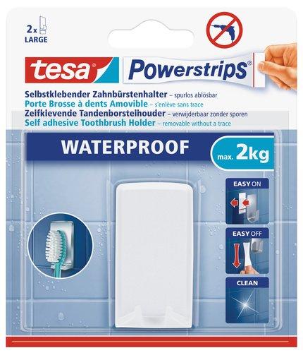 tesa Zahnbürstenhalter, wasserfest für Dusche und Bad, weiß, wieder ablösbar