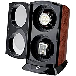 CKB Ltd® BURL VERTICAL TOWER Automatic Single Watch Winder with Clockwise or Anticlockwise Switch - 4 Timer Mode Premium Silent Motor Movement - Wooden Effect Burl and Matt Black Finish