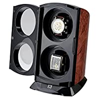 CKB Ltd® BURL VERTICAL TOWER Automatic Double Watch Winder with Clockwise or Anticlockwise Switch - 4 Timer Mode Premium Silent Motor Movement - Wooden Effect Burl and Matt Black Finish